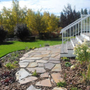 Flagstone patio deconstructs to step-stones