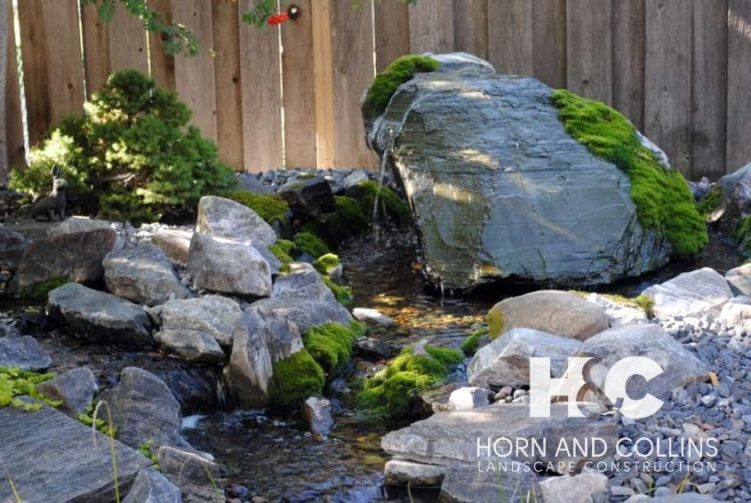 Water feature with added moss